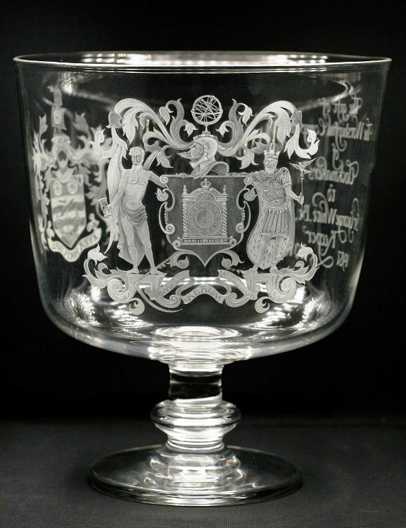 Large presentation bowl. Glass blown by Neil Wilkin. Bowl commissioned by The Worshipful Company of Clockmakers to present to their retiring Keeper, Sir George White, Bt, F.S.A. . Photograph by Sir George White.