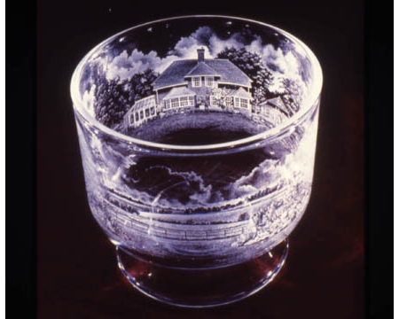 Hampshire house - portrait of a clients house drill engraved on Cumbria crystal by Tony Gilliam